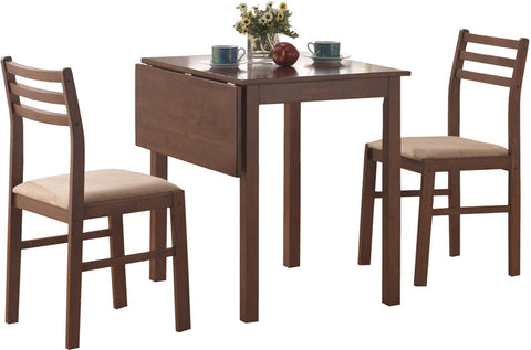 Monarch Specialties I 1079 Walnut 3Pcs Solid-Top Drop Leaf Dining Set - Peazz.com