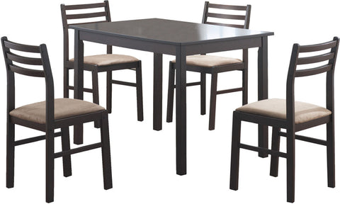 Monarch Specialties I 1111 Cappuccino Veneer 5Pcs Dining Set - Peazz.com