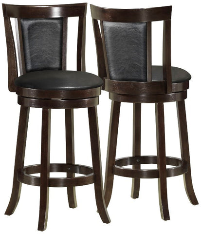 "Monarch Specialties I 1287 Black / Cappuccino Wood 43""H Swivel Barstool / 2Pcs - Peazz.com"