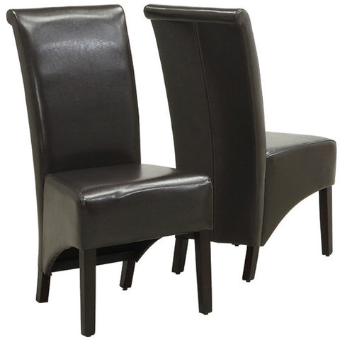 "Monarch Specialties I 1776BR Dark Brown Leather-Look 40""H Parson Chair / 2Pcs Per Ctn - Peazz.com"
