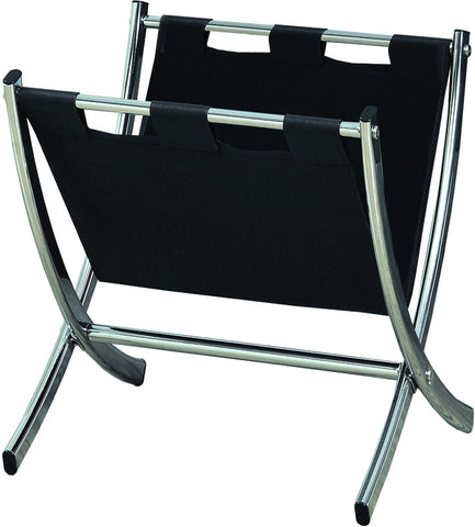Monarch Specialties I 2034 Black Leather-Look / Chrome Metal Magazine Rack - Peazz.com