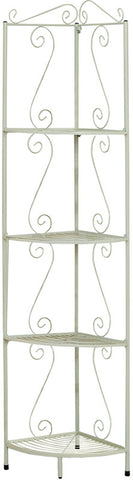 "Monarch Specialties I 2101 White Hammered Metal 70""H Corner Display Etagere - Peazz.com"