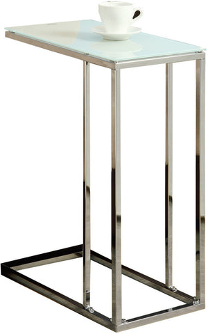 Monarch Specialties I 3000 Chrome Metal Accent Table With Tempered Glass - Peazz.com