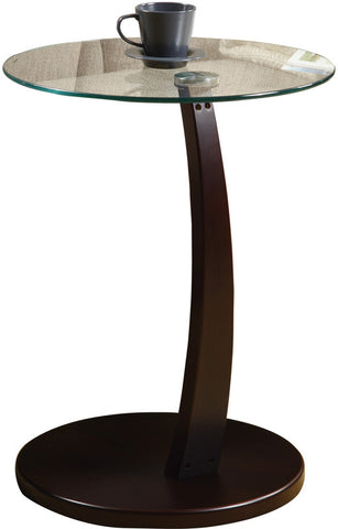 Monarch Specialties I 3001 Cappuccino Bentwood Accent Table With Tempered Glass - Peazz.com