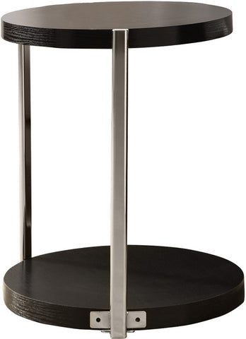 Monarch Specialties I 3005 Cappuccino / Chrome Metal Accent Table - Peazz.com