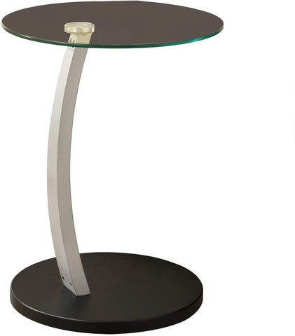 Monarch Specialties I 3009 Black / Silver Bentwood Accent Table With Tempered Glass - Peazz.com