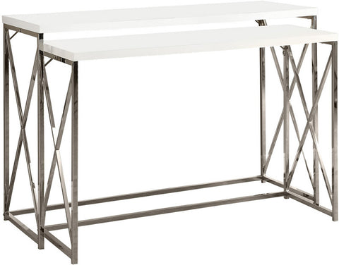Monarch Specialties I 3027 Glossy White / Chrome Metal 2Pcs Console Table Set - Peazz.com