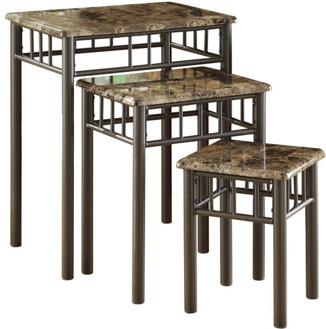 Monarch Specialties I 3041 Cappuccino Marble / Bronze Metal 3Pcs Nesting Table Set - Peazz.com