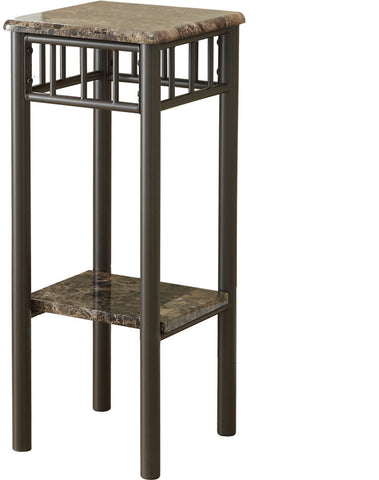 Monarch Specialties I 3044 Cappuccino Marble / Bronze Metal Plant Stand - Peazz.com