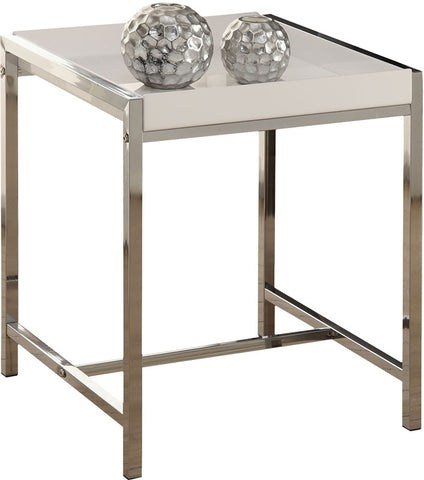 Monarch Specialties I 3050 White Acrylic / Chrome Metal Accent Table - Peazz.com