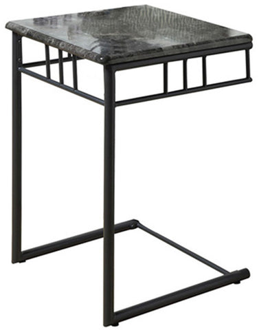 Monarch Specialties I 3063 Grey Marble / Charcoal Metal Snack Table - Peazz.com