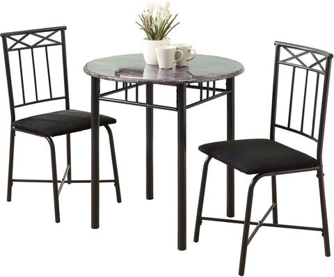 Monarch Specialties I 3065 Grey Marble / Charcoal Metal 3Pcs Bistro Set - Peazz.com