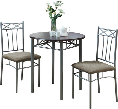 Monarch Specialties I 3075 Cappuccino / Silver Metal 3Pcs Bistro Set - Peazz.com