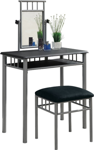 Monarch Specialties I 3092 Black / Silver Metal 2Pcs Vanity Set - Peazz.com