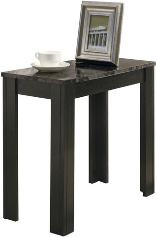 Monarch Specialties I 3112 Black / Grey Marble Accent Side Table - Peazz.com