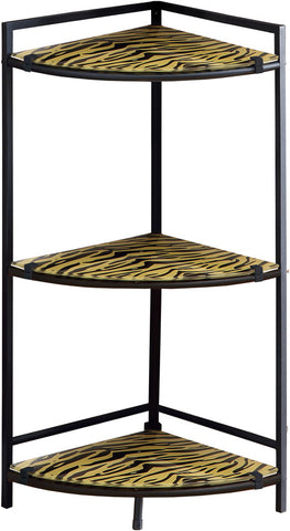 "Monarch Specialties I 3121 Black Metal 30""H Accent Table With Tiger Tempered Glass - Peazz.com"