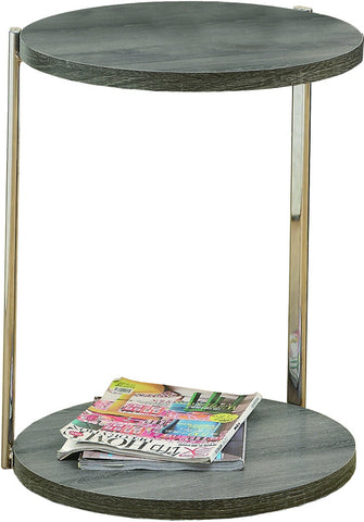 Monarch Specialties I 3252 Dark Taupe Reclaimed-Look / Chrome Metal Accent Table - Peazz.com