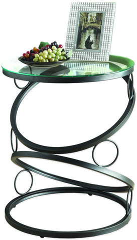 Monarch Specialties I 3317 Matte Black Metal Accent Table With Tempered Glass - Peazz.com