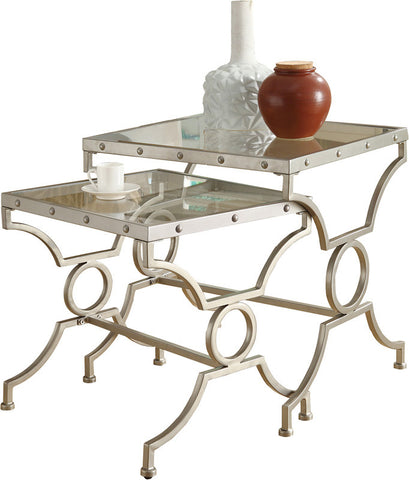 Monarch Specialties I 3321 Satin Silver 2Pcs Nesting Table Set With Tempered Glass - Peazz.com