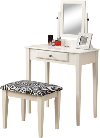 Monarch Specialties I 3390 White 2Pcs Vanity Set With A Zebra Fabric Stool - Peazz.com