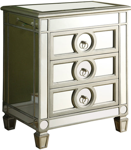 Monarch Specialties I 3701 Brushed Silver / Mirrored 3 Drawer Accent Table - Peazz.com
