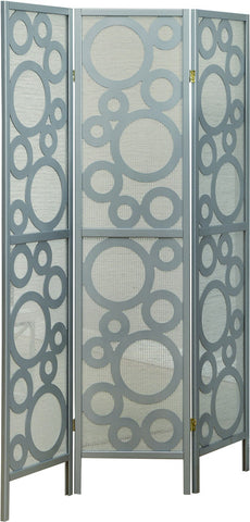 "Monarch Specialties I 4636 Silver Frame 3 Panel "" Bubble Design "" Folding Screen - Peazz.com"