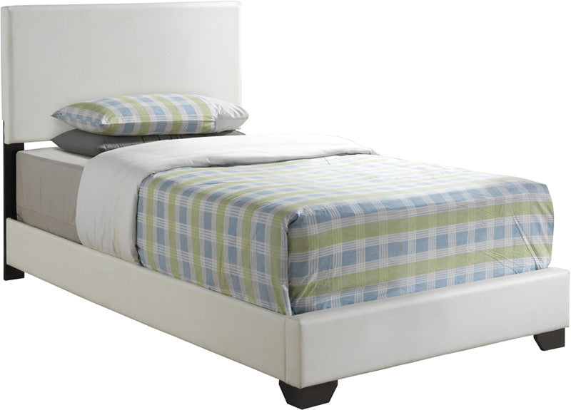 Monarch Specialties I 5907T White Leather-Look Twin Size Bed