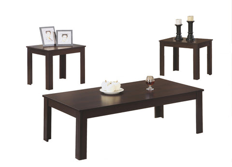 Monarch Specialties I 7842P Cappuccino 3Pcs Table Set - Peazz.com