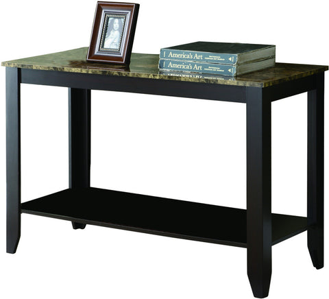Monarch Specialties I 7983S Cappuccino / Marble-Look Top Sofa Console Table - Peazz.com