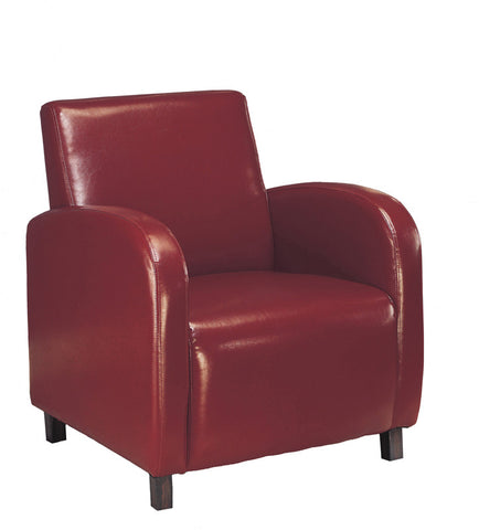 Monarch Specialties I 8051 Burgundy Leather-Look Accent Chair - Peazz.com