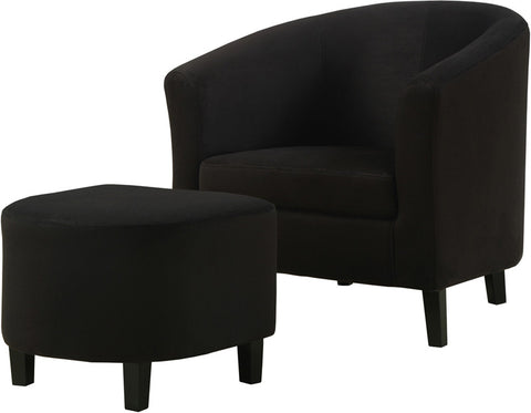 Monarch Specialties I 8055 Black Padded Micro-Fibre Accent Chair And Ottoman - Peazz.com