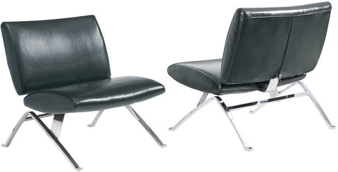 Monarch Specialties I 8073 Black Leather-Look / Chrome Metal Modern Accent Chair - Peazz.com