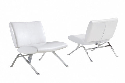 Monarch Specialties I 8074 White Leather-Look / Chrome Metal Modern Accent Chair - Peazz.com