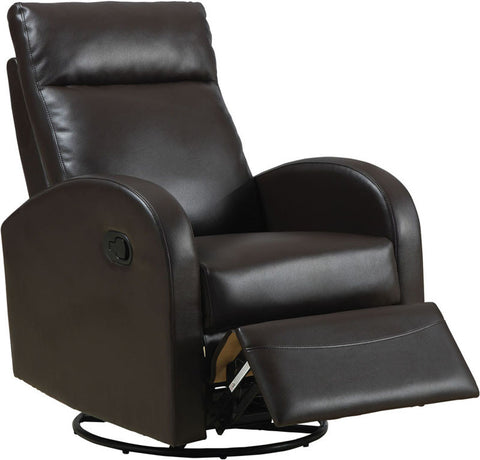 Monarch Specialties I 8080BR Dark Brown Bonded Leather Swivel Rocker Recliner - Peazz.com
