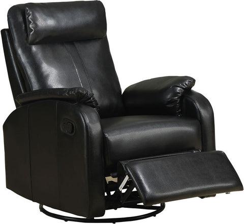 Monarch Specialties I 8081BK Black Bonded Leather Swivel Rocker Recliner - Peazz.com