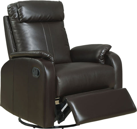 Monarch Specialties I 8081BR Dark Brown Bonded Leather Swivel Rocker Recliner - Peazz.com