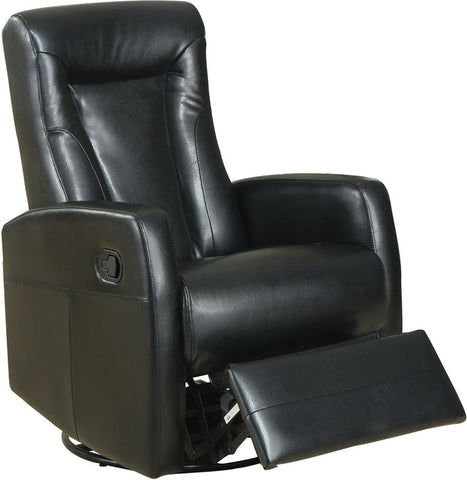 Monarch Specialties I 8082BK Black Bonded Leather Swivel Rocker Recliner - Peazz.com