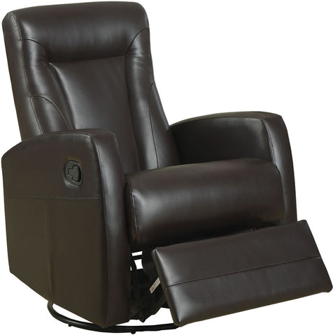 Monarch Specialties I 8082BR Dark Brown Bonded Leather Swivel Rocker Recliner - Peazz.com