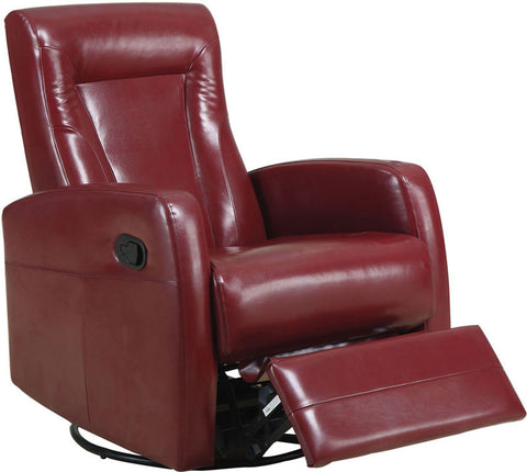 Monarch Specialties I 8082RD Red Bonded Leather Swivel Rocker Recliner - Peazz.com