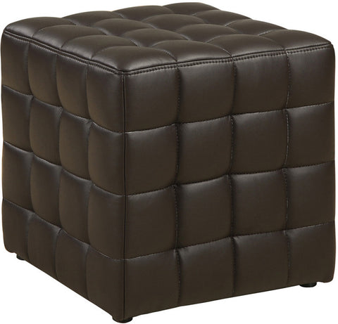 Monarch Specialties I 8980 Dark Brown Leather-Look Ottoman - Peazz.com