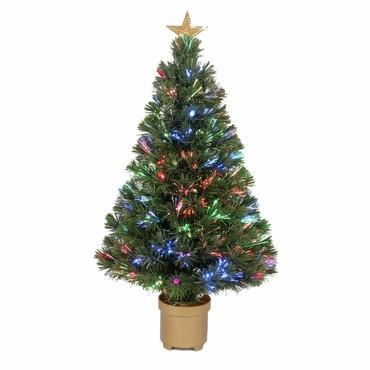 "36"" Multi-Color LED Fiber Optic Tree Top Star 125 Tips 11 Ply w/ Berries & Gold Base - Peazz.com"
