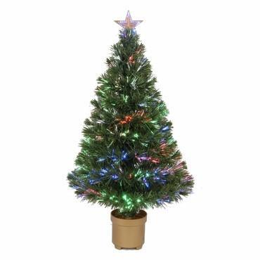 "36"" Multi-Color LED Fiber Optic Tree Top Star 125 Tips 11 Ply w/ Gold Base - WarehouseSpot"