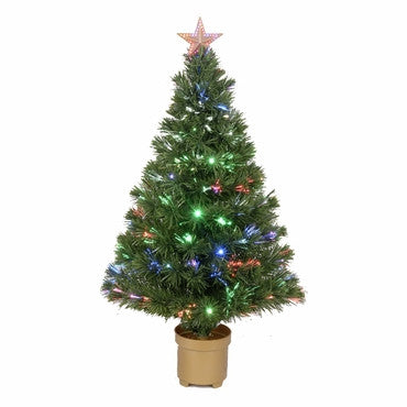"36"" Multi-Color LED Fiber Optic Tree Top Star 125 Tips 11 Ply 20 LEDs w/ Gold Base - Peazz.com"