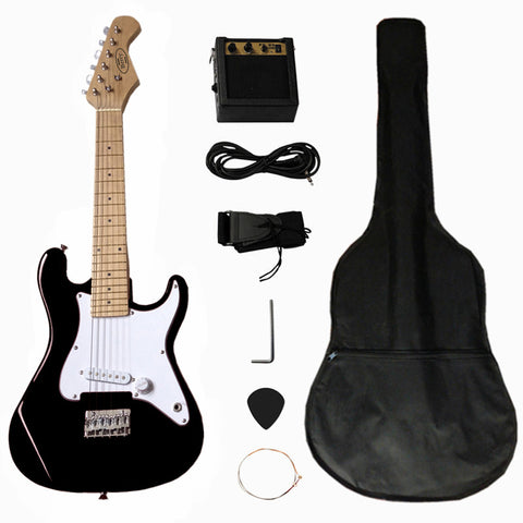 "Berry Toys MKAGT31-ST2-BLK 32"" Electric Guitar Set with 5W Amplifier, Guitar Bag, Cable, Strap, Picks - Black - Peazz.com"