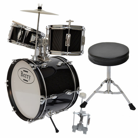 Berry Toys MKMU-3KL-BLK Complete Kids Large Drum Set with Cymbal, Stool, and Sticks - Black - Peazz.com