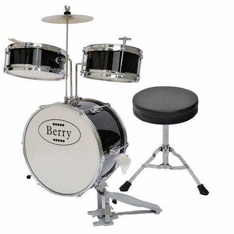 Berry Toys MKMU-3KM-BLK Complete Kids Medium Drum Set with Cymbal, Stool, and Sticks - Black - Peazz.com