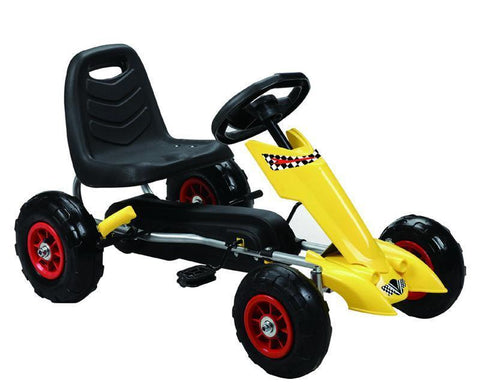 Vroom Rider VRPK06-YEL Zoom Pedal Go-Kart w/ Pneumatic Tire - Yellow - Peazz.com