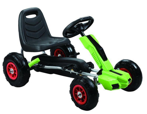 Vroom Rider VRPK10-GRN Power Pedal Go-Kart w/ Pneumatic Tire - Green - Peazz.com