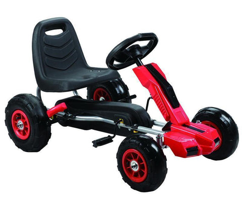 Vroom Rider VRPK10-RED Power Pedal Go-Kart w/ Pneumatic Tire - Red - Peazz.com