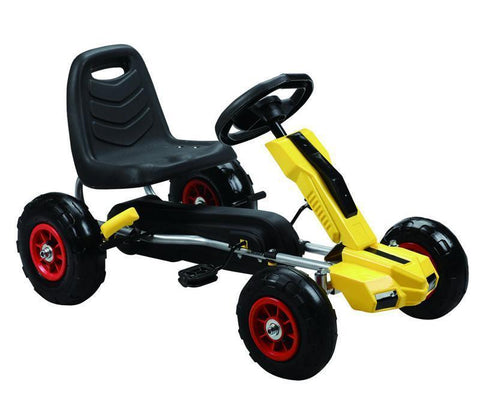Vroom Rider VRPK10-YEL Power Pedal Go-Kart w/ Pneumatic Tire - Yellow - Peazz.com